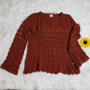 Cupio Long Bell Sleeve Crochet Sweater Size Large